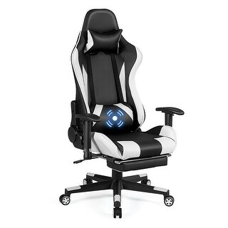 Costway Massage Gaming Chair Recliner Gamer Racing Chair w/ Lumbar Support & Footrest - White and Black