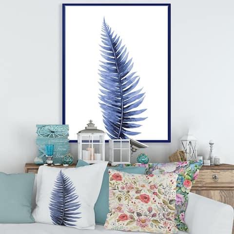 Designart 'Tropical Blue Watercolour Leaves II' Bohemian & Eclectic Framed Canvas Wall Art Print