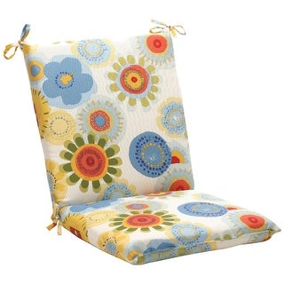"""40.5"""" White and Blue Floral Outdoor Patio Furniture Chair Cushion"""