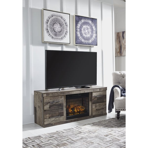 """Derekson 63"""" TV Stand with Electric Fireplace. Opens flyout."""