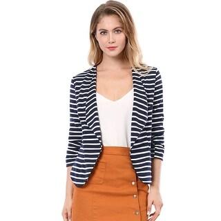 Allegra K Women Elastic Sleeves Work Office Business Casual Striped Blazer - Blue