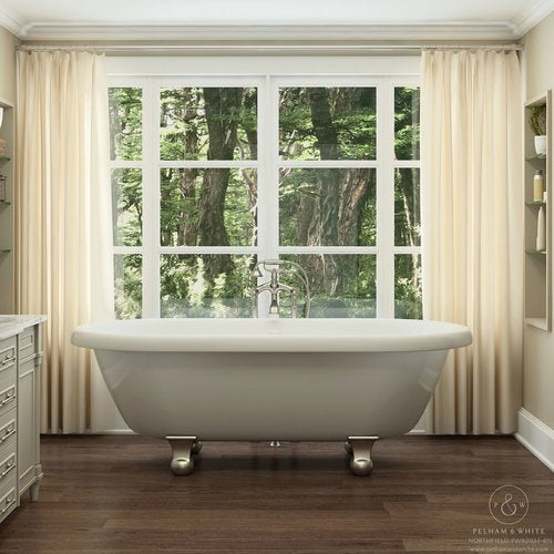 Pelham White Luxury 72 Inch Clawfoot Tub With Nickel Cannonball Feet