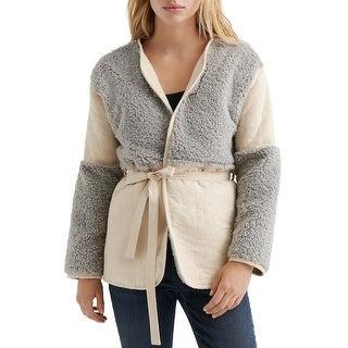 Lucky Brand Womens Mixed Sherpa Wrap Jacket Medium Grey