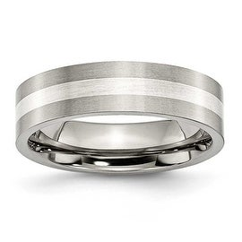 Chisel Sterling Silver Inlaid Brushed Titanium Ring (6.0 mm)