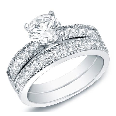 Auriya 14k Gold 2ctw Round Certified Diamond Engagement Ring Set Certified