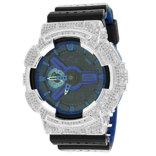 GA110LPA-1A Performance Blue G-Shock Watch Ana-Digi Iced Out Lab DIamonds