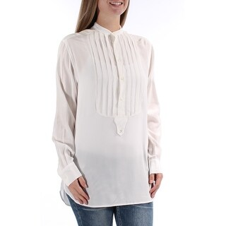 RALPH LAUREN $225 Womens 1109 Ivory Bib Neck Pleated Hi-Lo Career Top 8 B+B