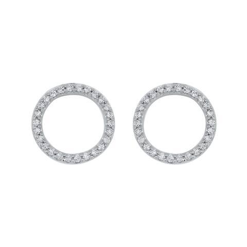 10K White Gold 1/5ct TDW Diamond Circle Fashion Earrings (I-J, I1)