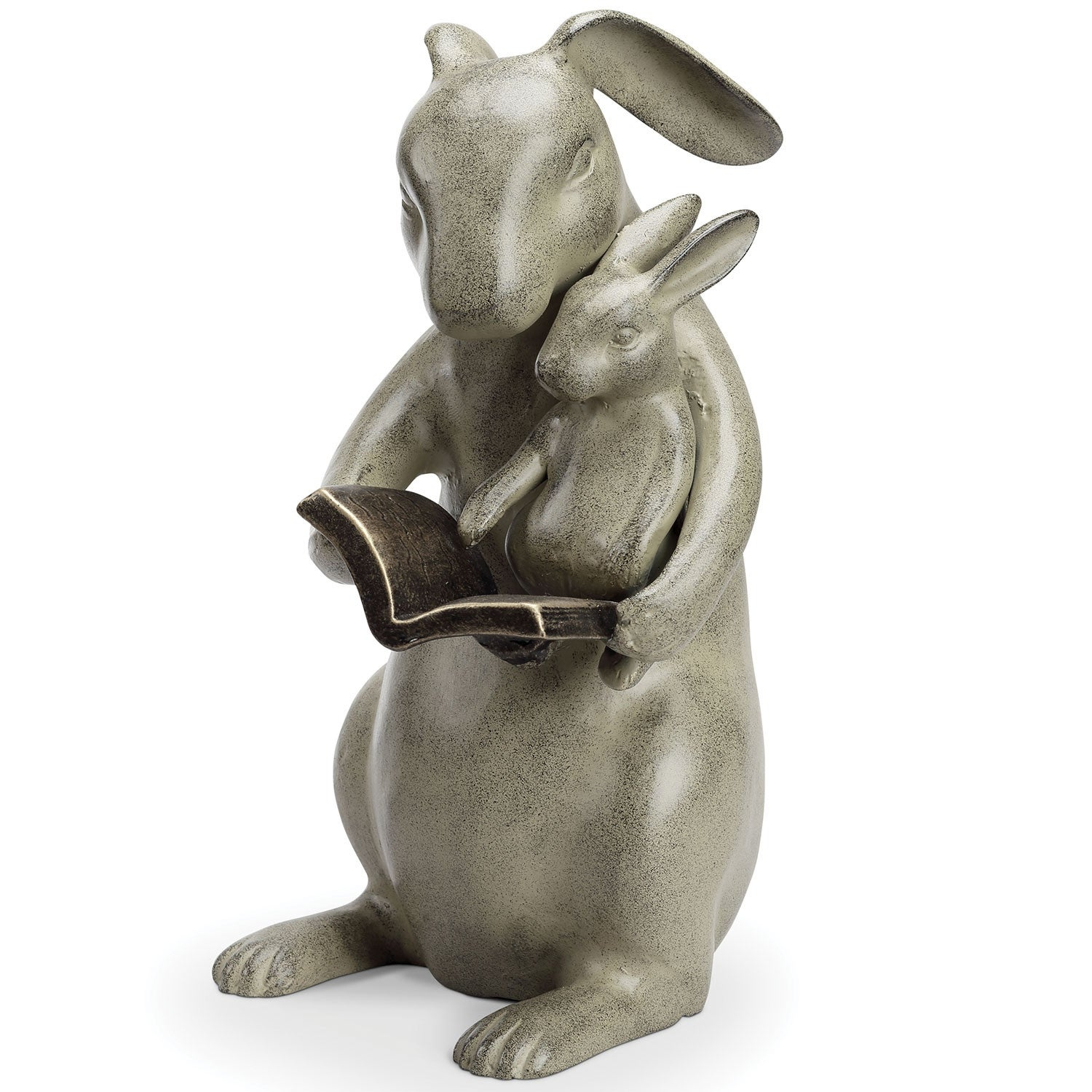 "SPI Home Reading Rabbits Sharing a Story Sculpture - 12"" Cast Aluminum  Outdoor Garden Decor - Parent Child Baby Bunny - 12 in."