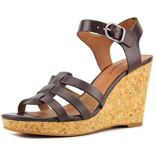 Lucky Brand Willows Women Open Toe Leather Brown Wedge Sandal