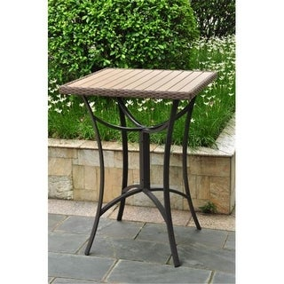 Inc Barcelona Resin Wicker-Aluminum Bar Bistro Table - Light Brown
