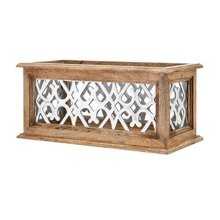 IMAX Home 80175  Aluminum and Wood 5 Candle Pillar Lantern Candle Holder - Brown