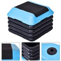 Costway 16''Aerobic Step System 4 Risers Fitness Exercise Stepper Platform Cardio Workout - Black and Blue