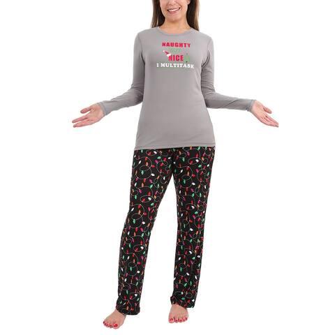 Memoi Naughty But Nice Pajama Set - Gray
