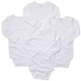 Carter's Unisex Long Sleeve White Bodysuits (24 Month , 4 Per Pack)