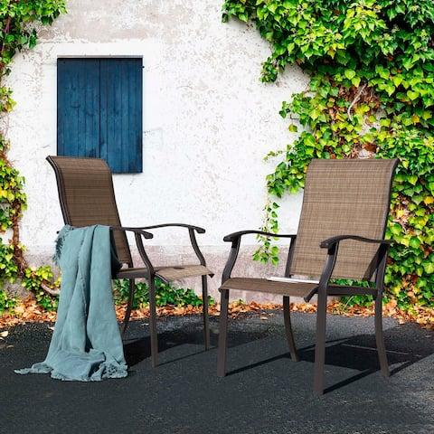 NUU GARDEN Textilene Dining Chair, Brown, Set of 2