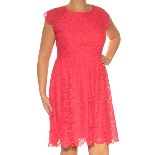 fa72b4717fe3 Shop JESSICA SIMPSON Womens Coral Lace Cap Sleeve Jewel Neck Above The Knee  Fit + Flare Dress Size: 14 - On Sale - Free Shipping On Orders Over $45 ...