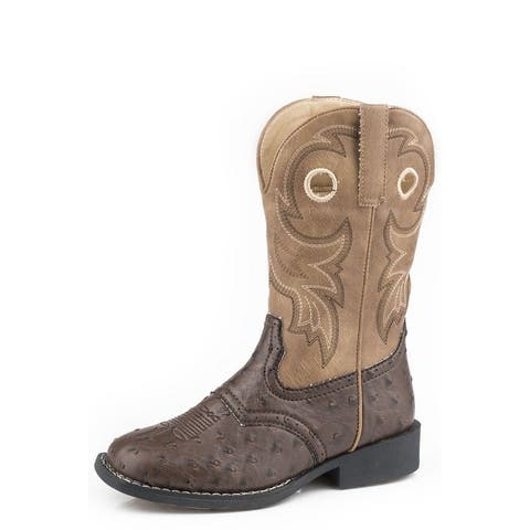 Roper Western Boots Boys Pull Holes Saddle Brown