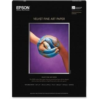 Epson Velvet Fine Art Paper (8.5x11 Inches, 20 Sheets) (S041636) - White