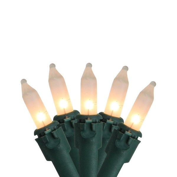 "Set of 100 Frosted White Mini Christmas Lights 6"" Spacing - Green Wire"