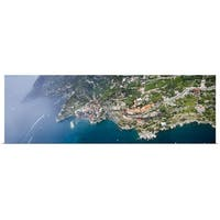 Poster Print entitled Aerial view of a town Atrani Amalfi Coast Salerno Campania Italy - Multi-color