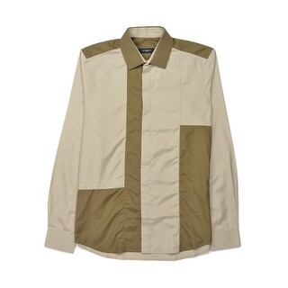 Givenchy Mens Olive Pure Cotton Button Down Shirt - 16
