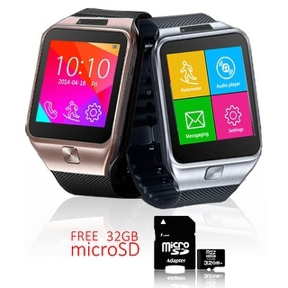 Indigi® Unlocked 2-in-1 SWAP2 SmartWatch & Phone + Bluetooth Sync + Pedometer + Built-In Camera w/ 32gb microSD Included