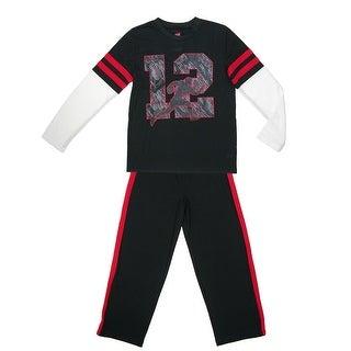 Hanes Boys' Football Jersey Pajama Set - Black