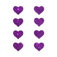 Mini Purple Glitter Heart Pasties, Purple Heart Pasties - One Size Fits most
