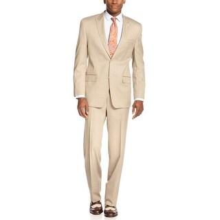 Sean John Sand Mini Stripe Suit 36 Short 36S Flat Front Pants 30 Waist