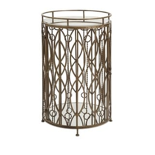 """34"""" Veronica Mirror Topped and Stone Cocktail Drink Bar Accent Table"""