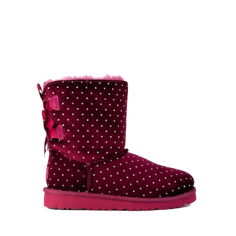 UGG Kids Girls Red Suede Bailey Bow Starlight Polka Dot Boots US2~RTL$140