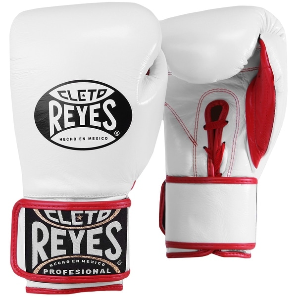 Cleto Reyes Lace Up Hook and Loop Hybrid Boxing Gloves - White