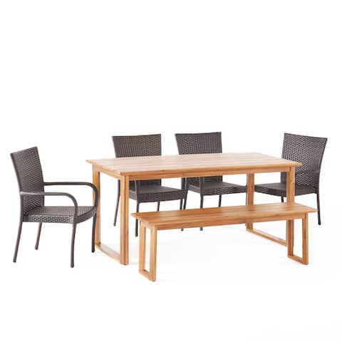 Nibley Outdoor Acacia Wood and Wicker Outdoor 6 Piece Dining Set with Bench by Christopher Knight Home