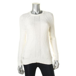 Lauren Ralph Lauren Womens Pullover Sweater Open Stitch Ribbed Trim