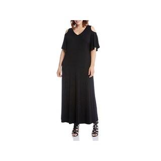 Karen Kane Womens Plus Maxi Dress Cold Shoulder Short Sleeve
