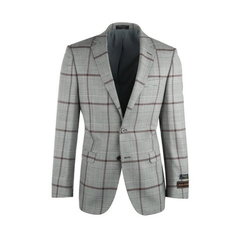 Sangria Cream and Black Houndstooth with Brown Windowpane Pure Wool Jacket Jacket by Tiglio Luxe