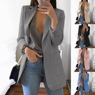Fashion Women Office Suit Solid Color No Button Lapel Slim Fit Blazer Coat