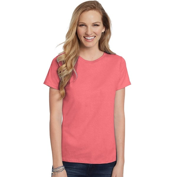 ce4edb5941 Shop Hanes Women s Relaxed Fit Jersey ComfortSoft® Crewneck T-Shirt - Size  - 2X - Color - Charisma Coral - Free Shipping On Orders Over  45 -  Overstock - ...