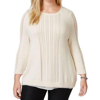Lucky Brand Womens Plus Sweater Open Stitch Metallic|https://ak1.ostkcdn.com/images/products/is/images/direct/0041b1070f5a0cdf11827ec396a7e558ac864194/Lucky-Brand-Womens-Plus-Sweater-Open-Stitch-Metallic.jpg?impolicy=medium