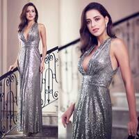 Ever-Pretty Womens Sequin Deep V Neck Formal Evening Prom Party Dress 07109