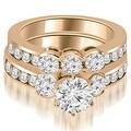 3.00 cttw. 14K Rose Gold Bezel Set Round Cut Diamond Engagement Set - White H-I - Thumbnail 0