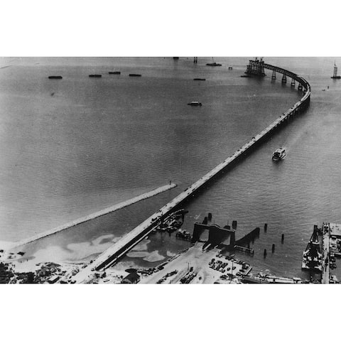 Bridge across Chesapeake Bay Black and White Gallery Wrapped Canvas