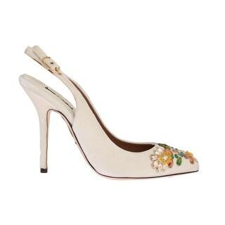Dolce & Gabbana White Velvet Crystal Slingback Shoes - eu39-us8-5