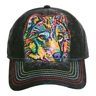 Unisex Adult Adjustable Tie Dye Animal Printed Baseball Hats - Wolf