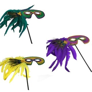 Mardi Gras Stick Mask With Feathers