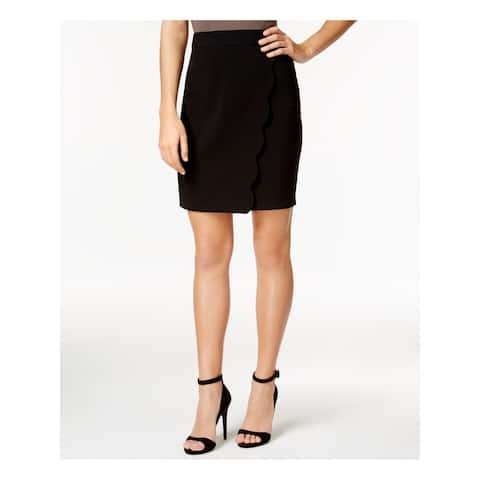 BCX Womens Black Faux Wrap Scalloped Above The Knee Pencil Wear To Work Skirt Juniors Size: 13