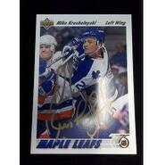 Signed Krushelnyski Mike Toronto Maple Leafs 1991 Upper Deck Hockey Card autographed