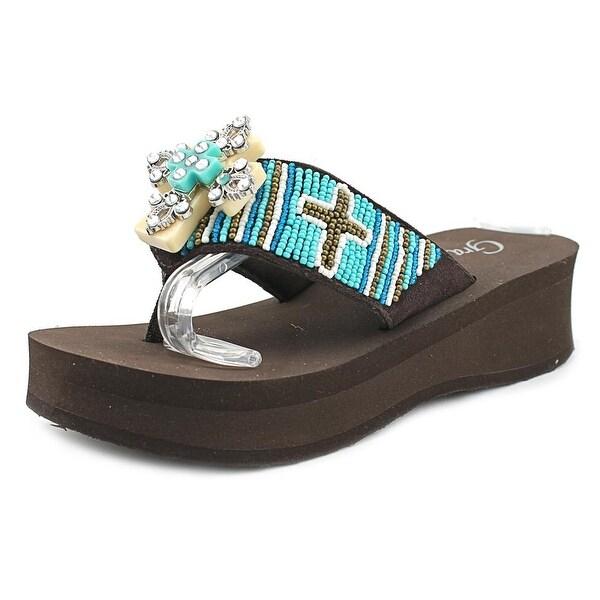 Grazie Campy Women Open Toe Leather Multi Color Flip Flop Sandal