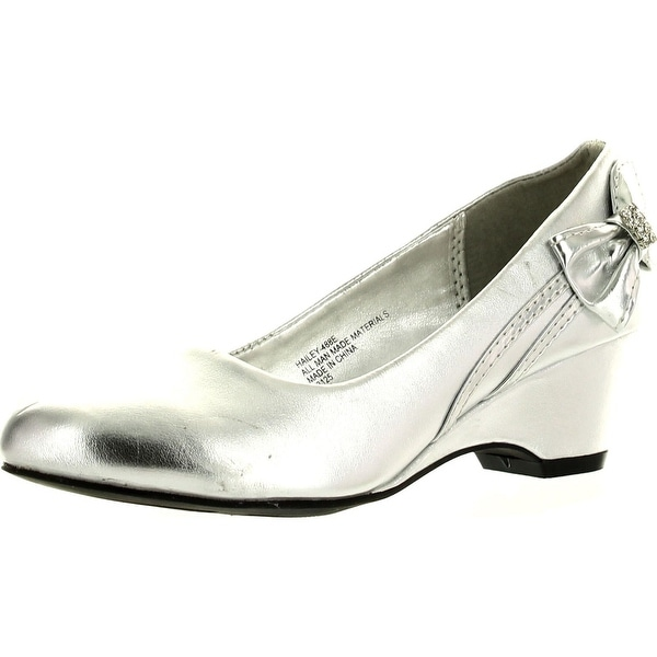 Little Angel Girls Hailey-488E Round Toe Bow Kiddie Heel Wedge Sandal - silver pu